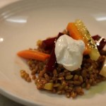 Farro Salad with olive oil pouched vegetables and horseradish creme