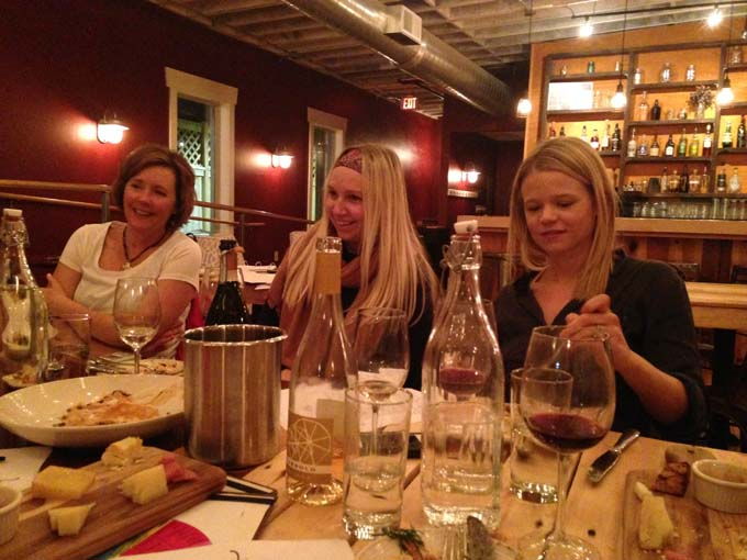 Students at Braise Cooking Class enjoying wine and dinner