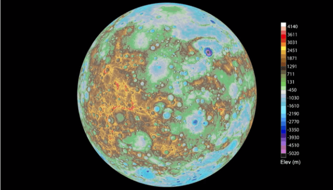 topographie carte mercure nasa messenger