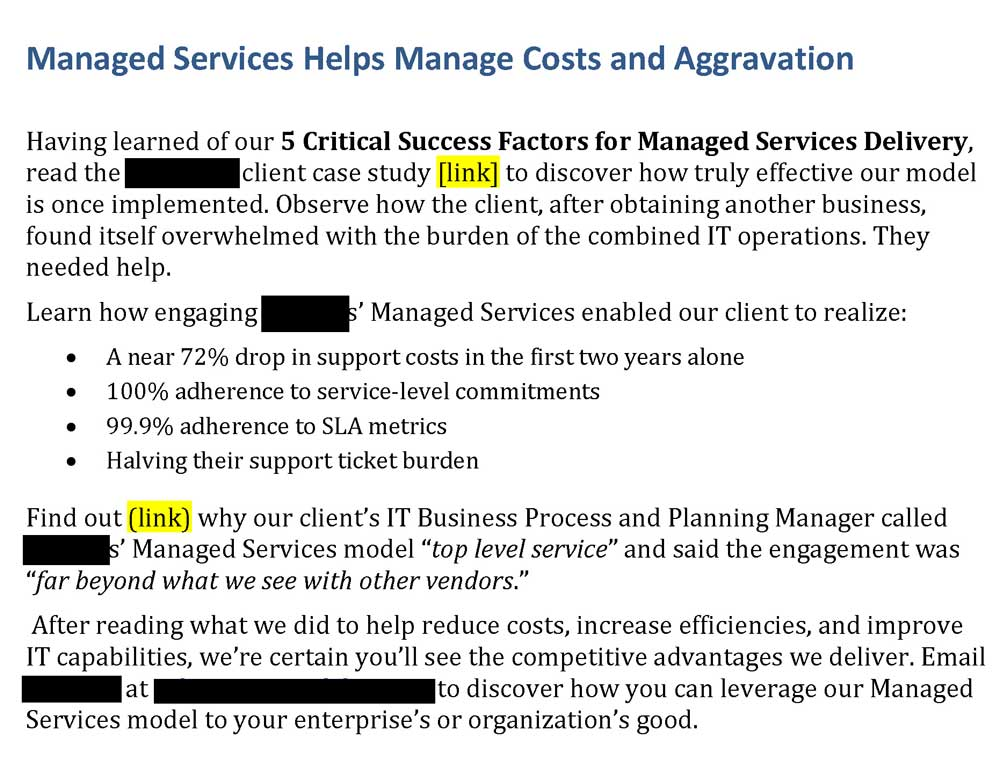 Steven Trustrum Managed Services Email Blast