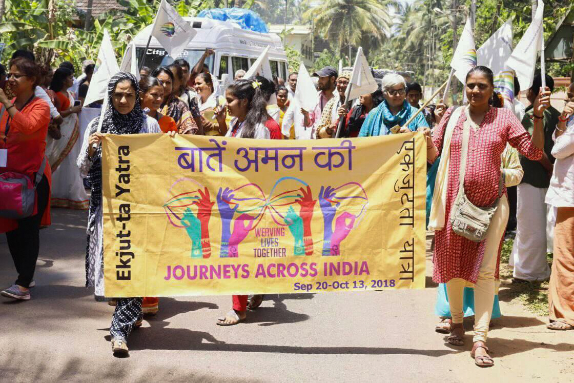 Caravans of women traveled across India as part of the Baatein Aman Ki campaign of September-October 2018.