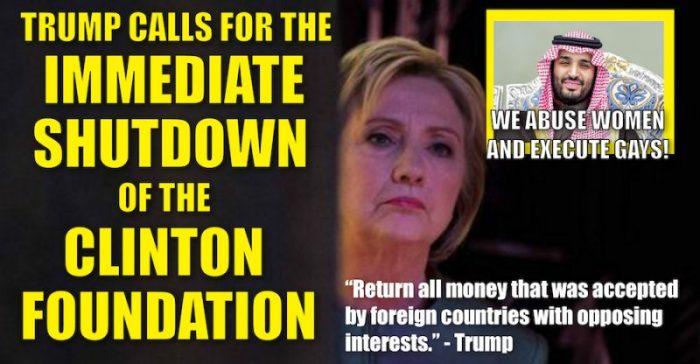 Donald Trump Calls For The Immediate Shut Down Of Clinton Foundation  (Video)