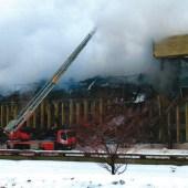 Пожар библиотеки ИНИОН РАН 30 января 2015 года. Фото С. Лещины