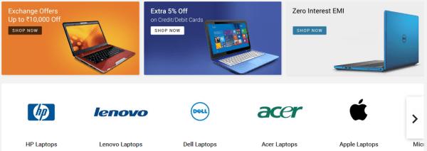 Flipkart laptop discounts-Flipkart has laptops from Acer, HP, Asus, Dell, Lenovo, Apple, MSI, Alienware, Micromax among others