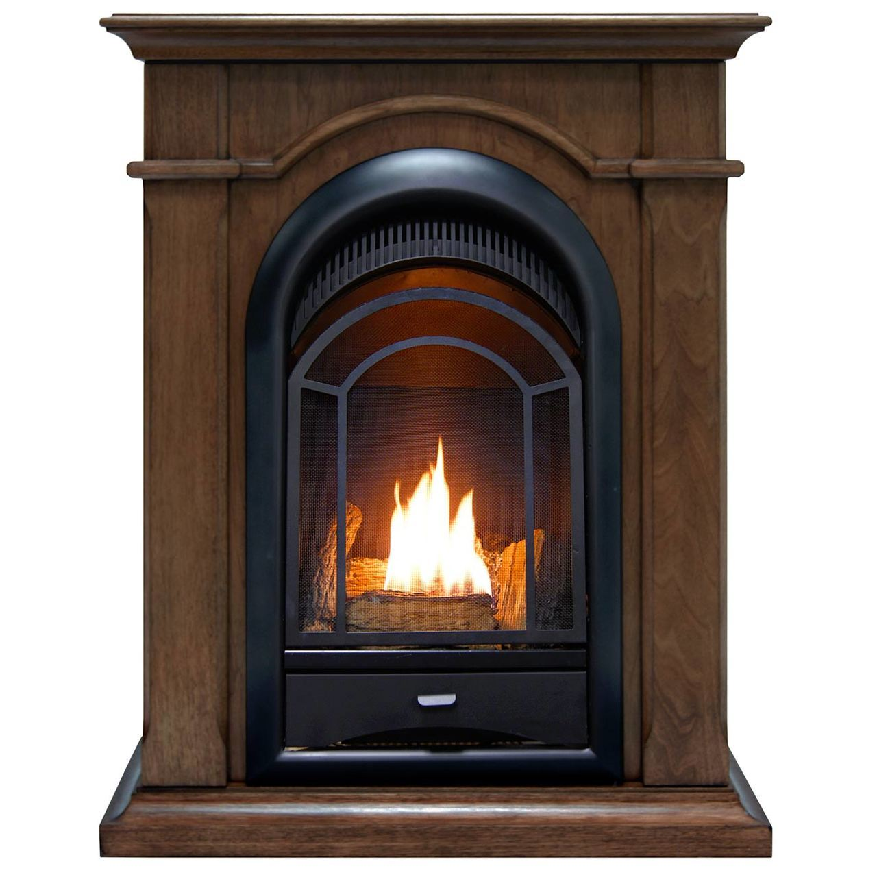 Btu Gas Fireplace Procom Fs100t W Ventless Fireplace System 10k Btu Duel Fuel Thermostat Insert And Walnut Mantel