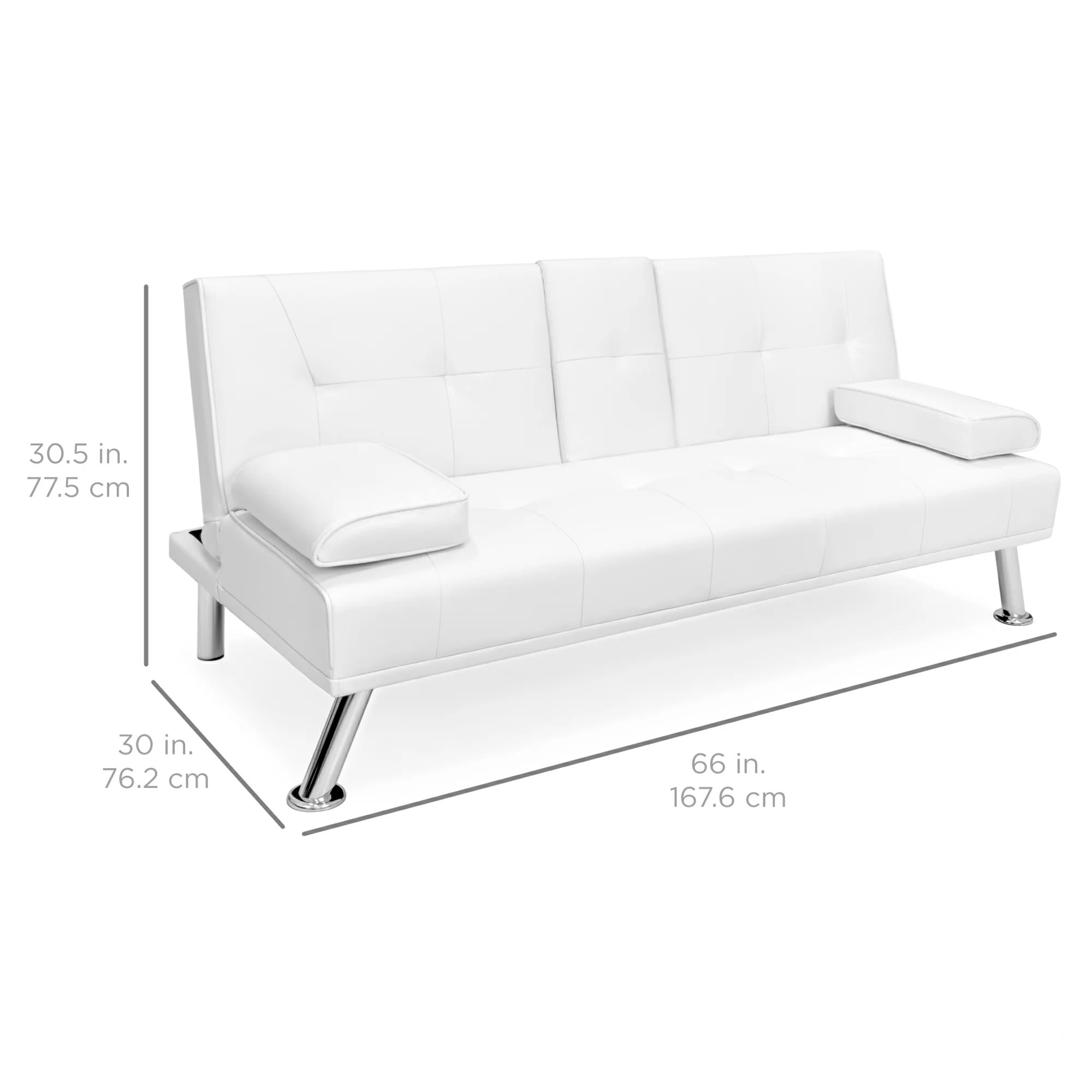 Futon Convertible 1 Place Best Choice Products Modern Faux Leather Convertible Futon Sofa Bed Recliner Couch W Metal Legs 2 Cup Holders White