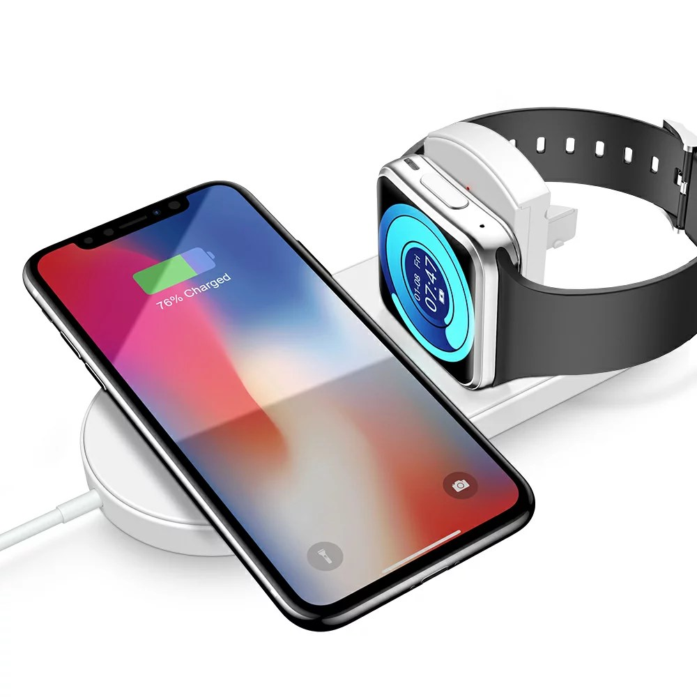 Iphone Cordless Charger 2 In 1 Airpower Wireless Charger For Watch 4 3 2 1 Iphone Xs Max Xs Xr X S8 S9