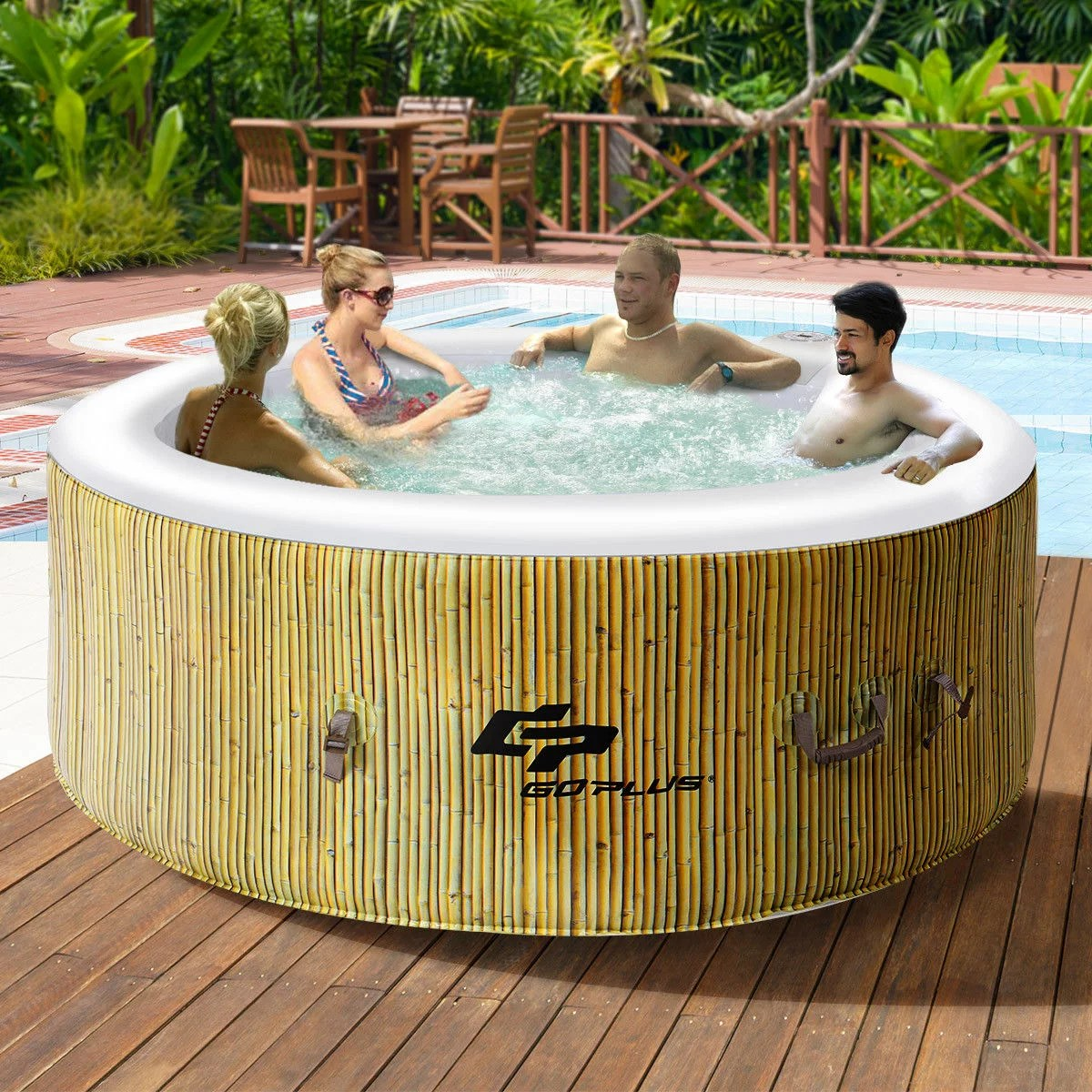 Jacuzzi Oval Pool Costway Goplus 4 Person Inflatable Hot Tub Outdoor Jets