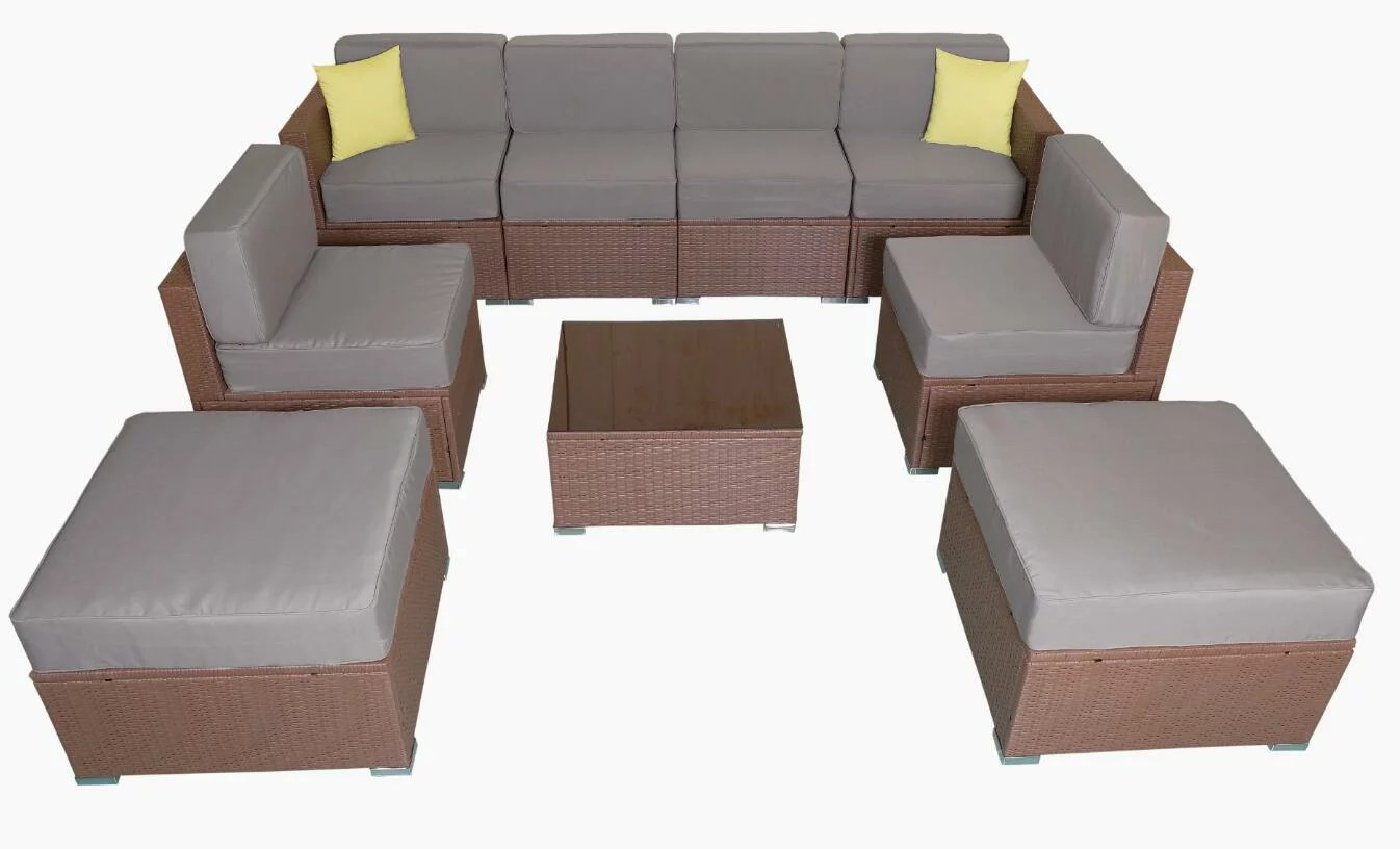 Rattan Sofa Mcombo Patio Furniture Sectional Sets Wicker Rattan Couch Sofa Chair Luxury Big Size 9 Pc Grey