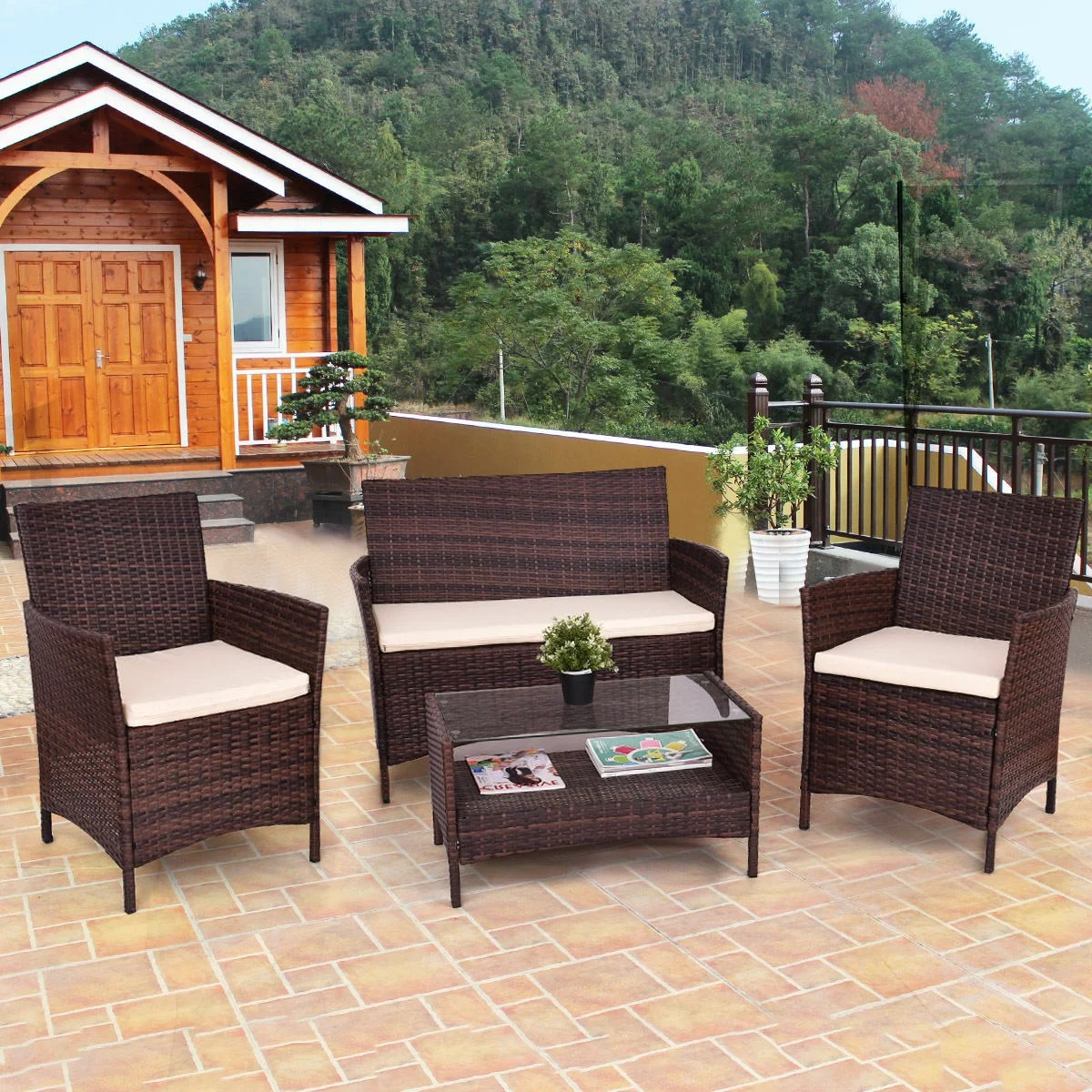 Patio Outdoor 4pcs Outdoor Patio Pe Rattan Wicker Table Shelf Sofa Furniture Set With Cushion