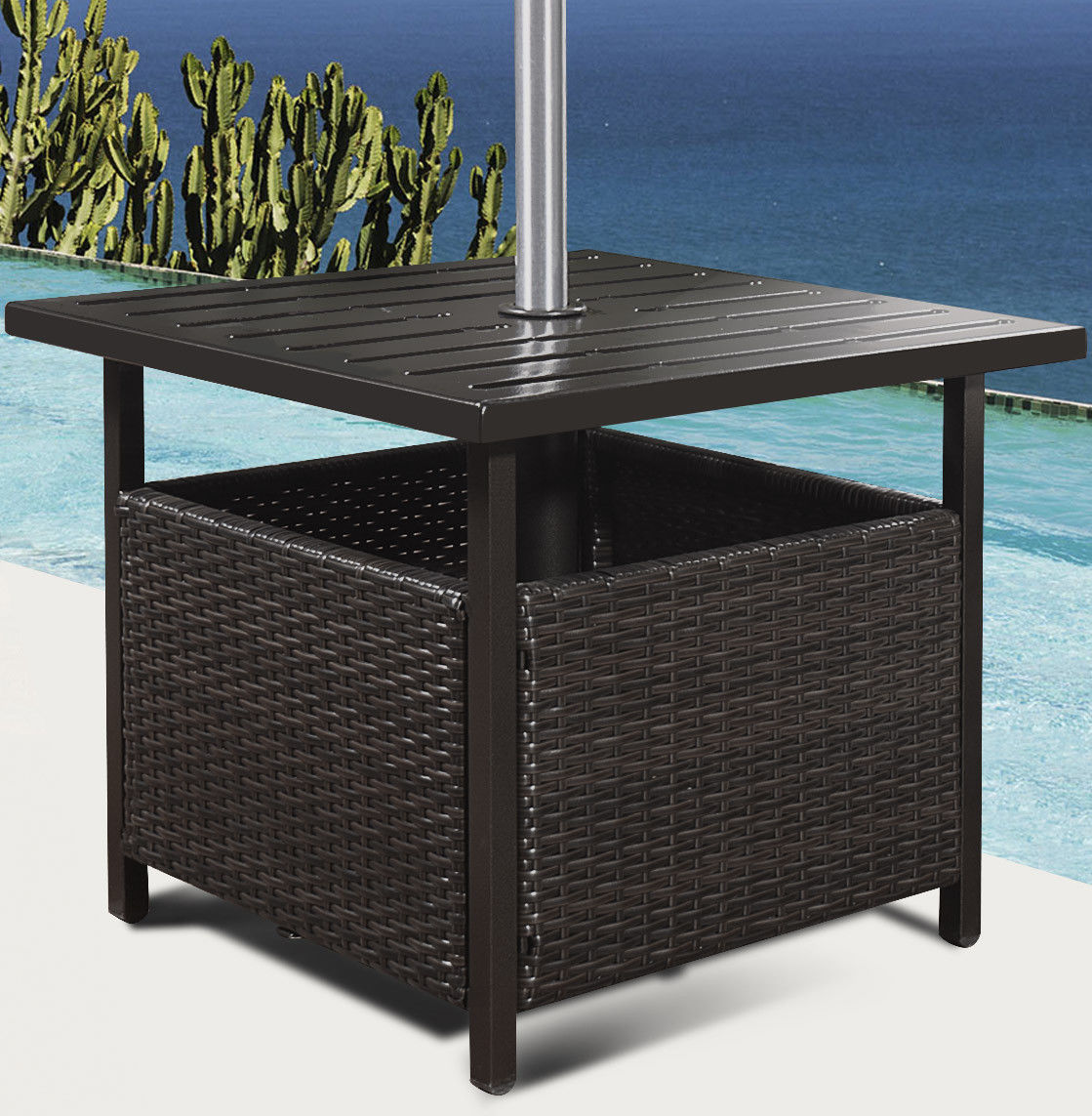 Rattan Table Costway Brown Rattan Wicker Steel Side Table Outdoor Furniture Deck Garden Patio Pool
