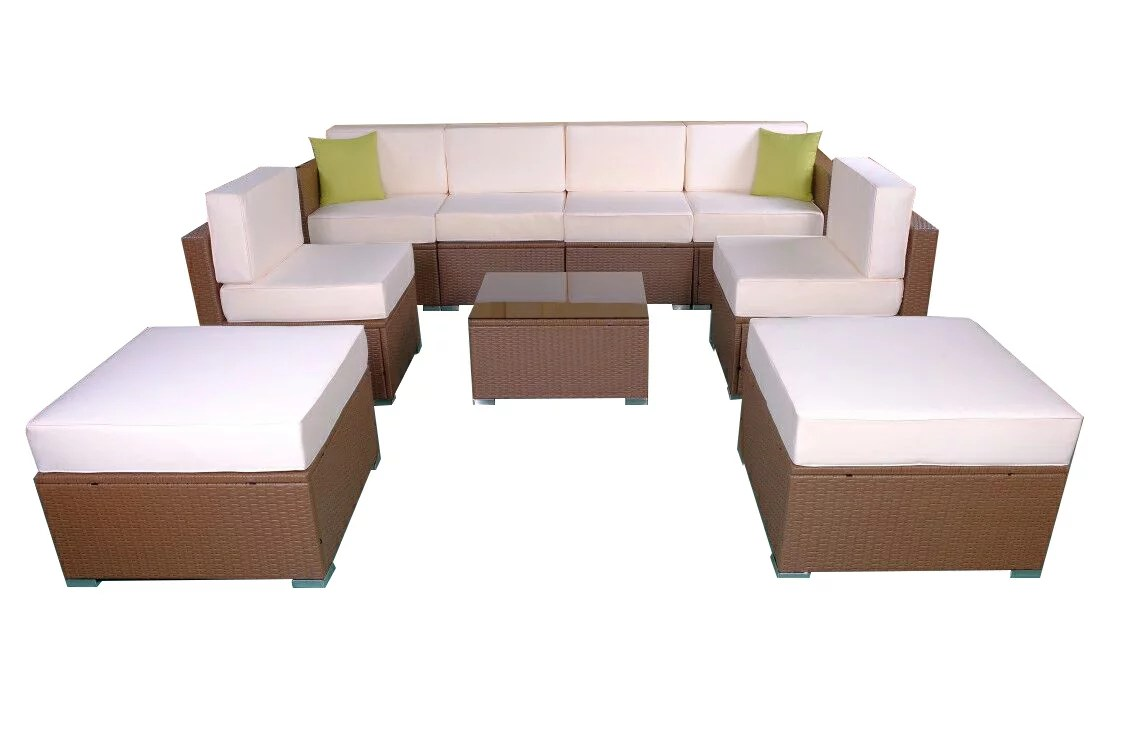 Sofa Rattan Mcombo Patio Furniture Sectional Sets Wicker Rattan Couch Sofa Chair Luxury Big Size 9 Pc