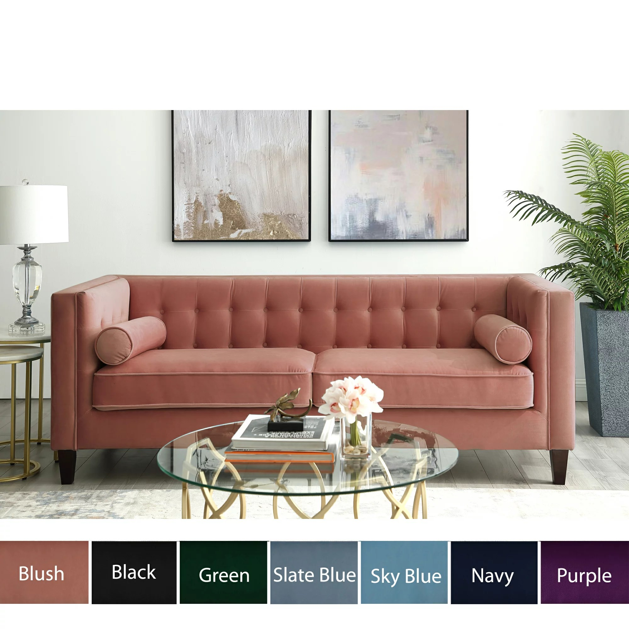 Square Sofa Kenn Velvet Tufted Sofa Square Arms Tapered Legs Modern Contemporary Inspired Home
