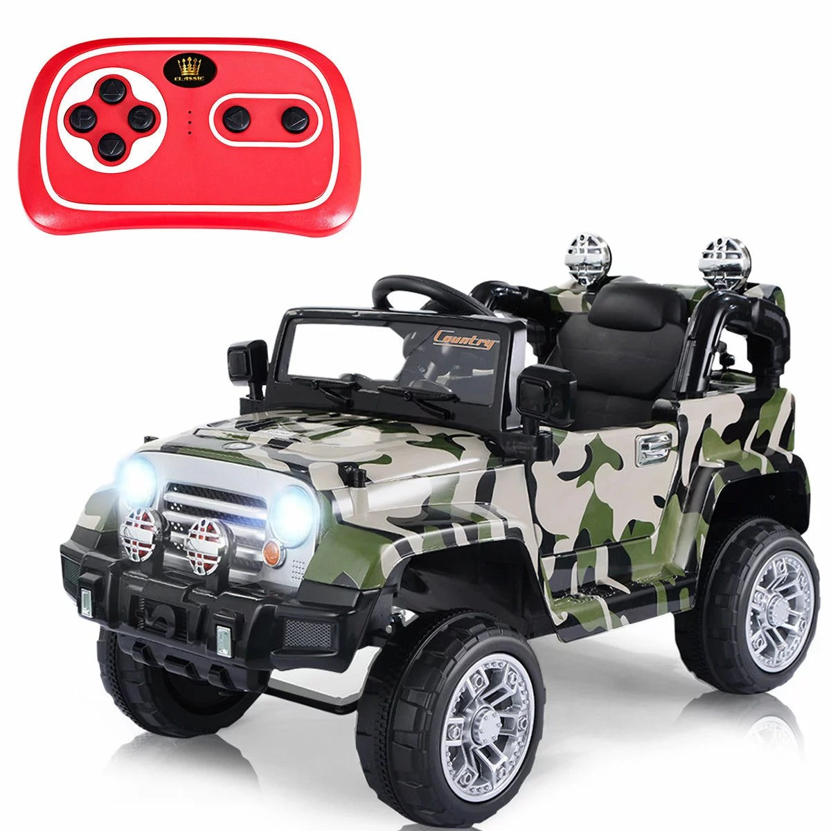 Car Rc Costway 12v Mp3 Kids Ride On Truck Jeep Car Rc Remote Control W Led Lights Music