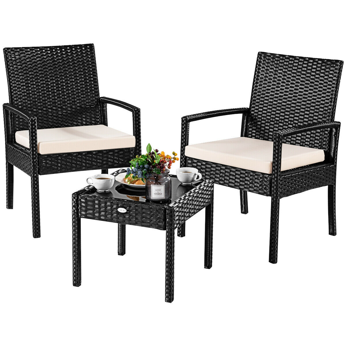 Patio Table Costway 3 Ps Outdoor Rattan Patio Furniture Set Backyard Garden Furniture Seat Cushioned
