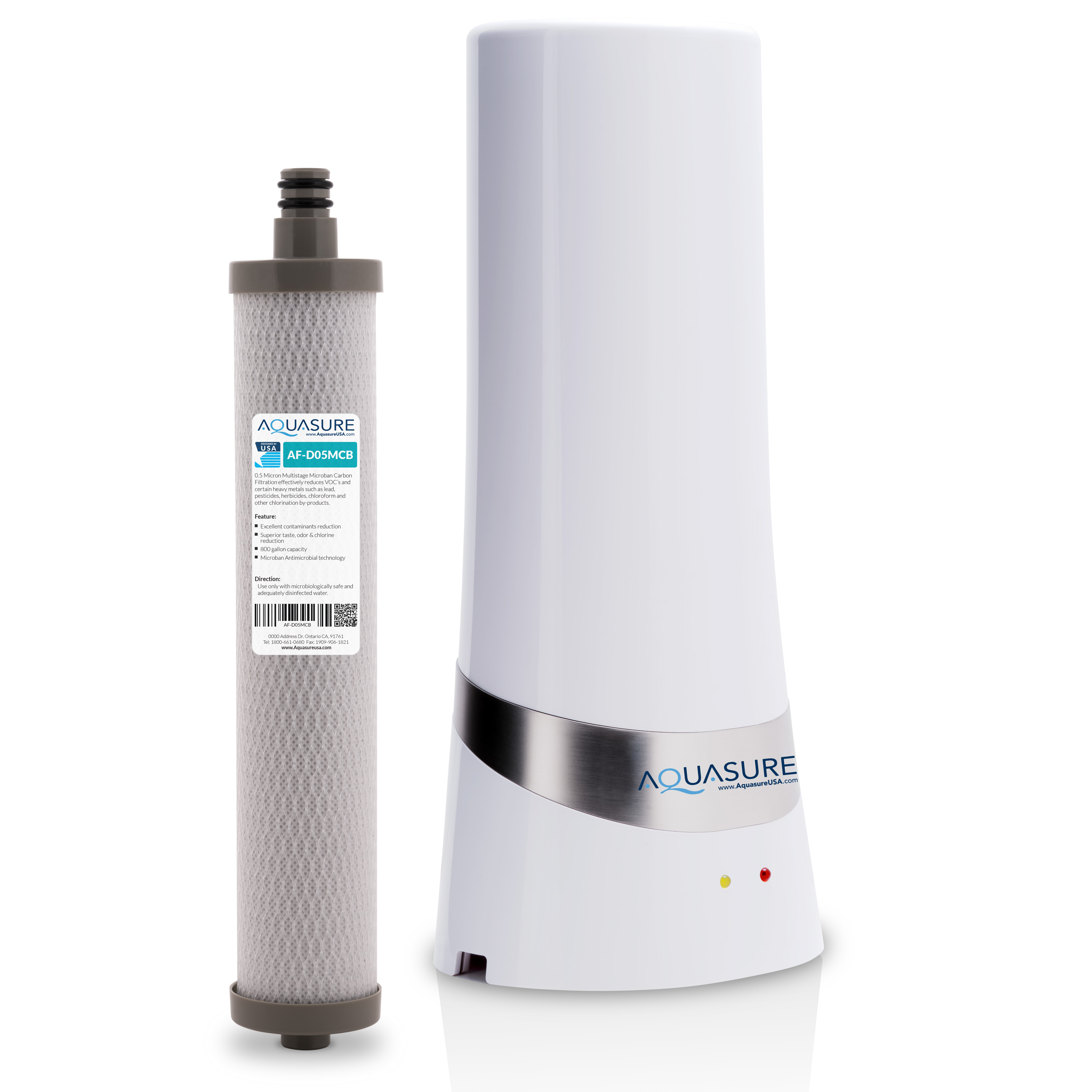 Carbon Water Filter System Aquasure Dash Series Countertop Drinking Water Filtration System With 5 Micron Carbon Block With Microban Technology