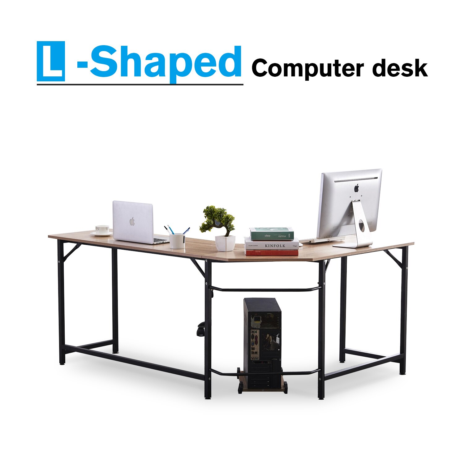 Metal Pc Office Desk L Shape Corner Computer Pc Latop Study Table Workstation Home Office Wood Metal
