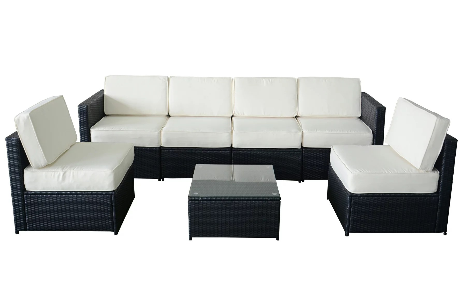 Outdoor Couch Mcombo 7pcs Black Wicker White Cushion Patio Sectional Outdoor Sofa Furniture Set 6085 S1007 A1