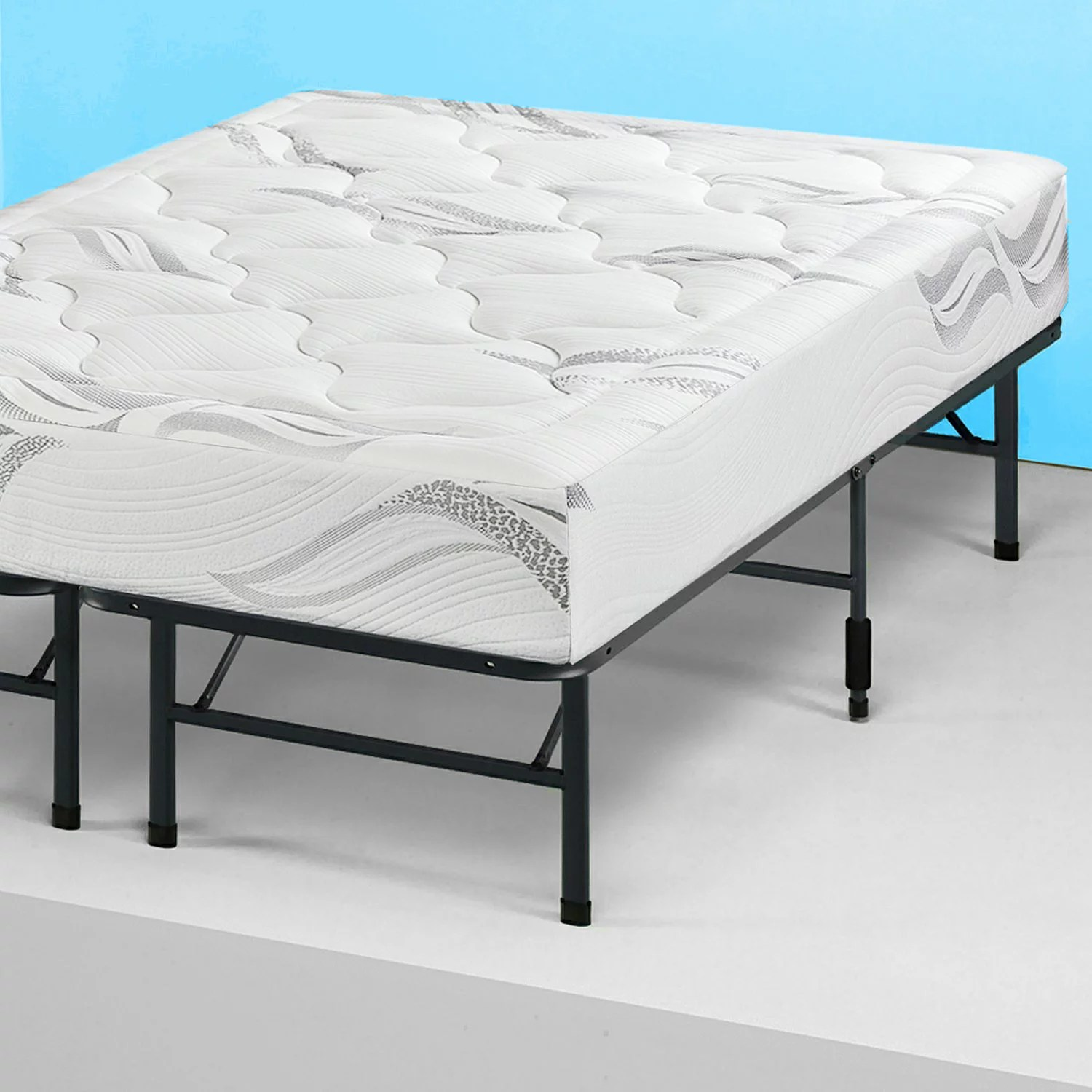 Mattress Platform King Modern Bi Fold Folding Platform Metal Bed Frame Mattress Foundation