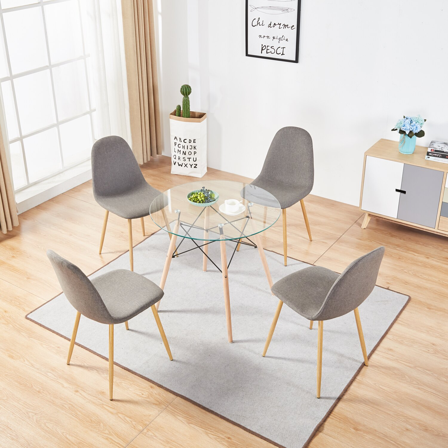 Table Kitchen Mcombo Dining Side Chairs Set Of 4 Dining Table Round Clear Glass Table For Kitchen Dining Room