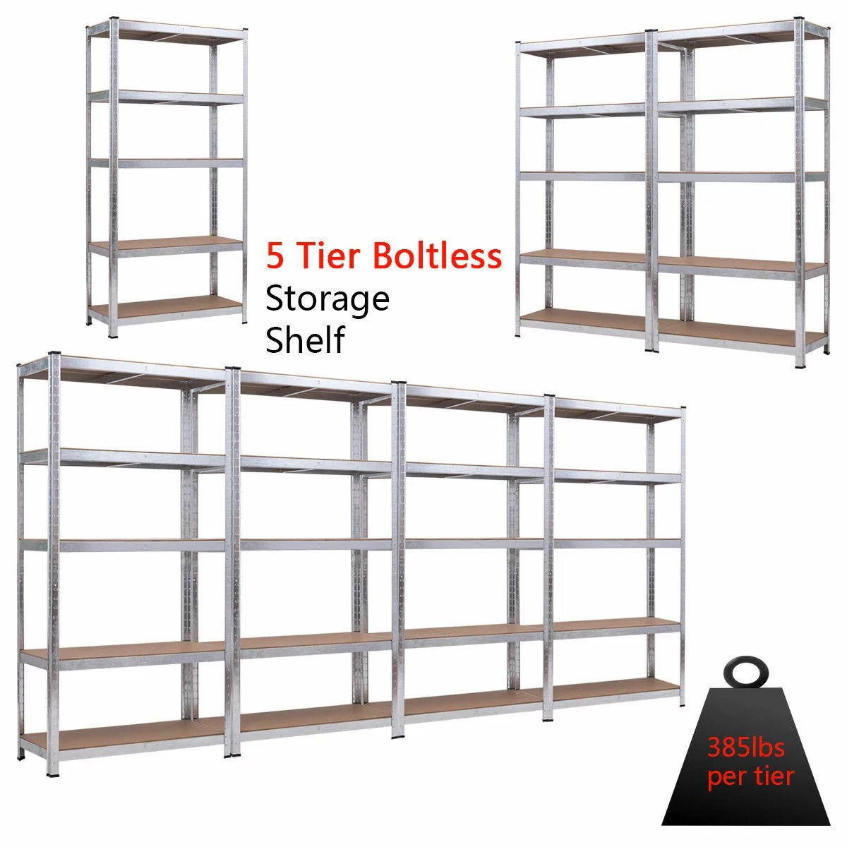 Metal Shelving Costway 71 Heavy Duty Storage Shelf Steel Metal Garage Rack 5 Level Adjustable Shelves