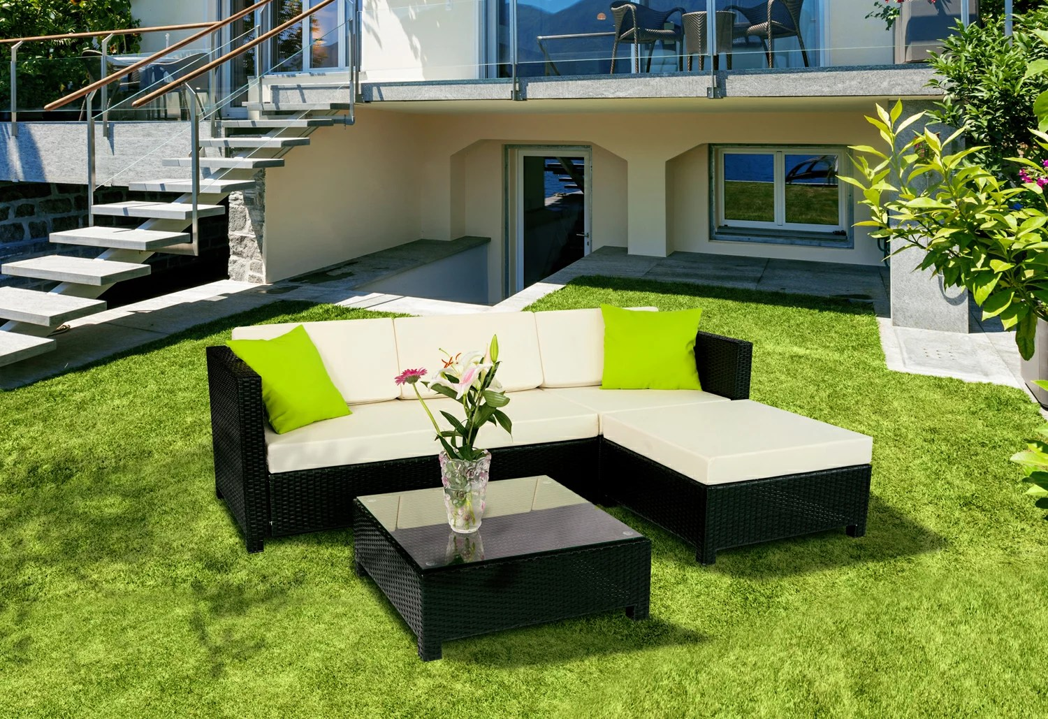 Outdoor Covers Mcombo 5pc Luxury Wicker Sectional Outdoor Sofa Aluminum Frame Furniture 2 Sets Covers