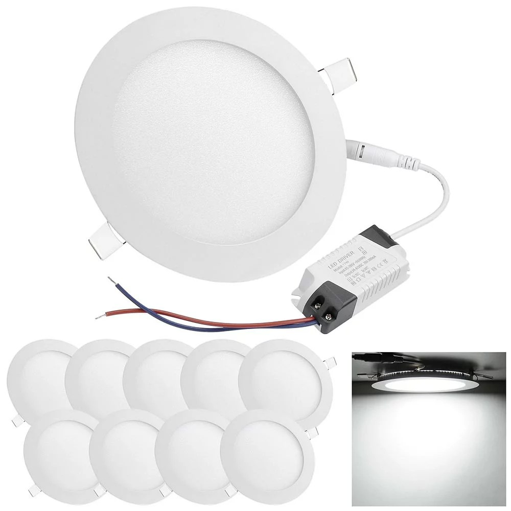 Panel Light Delight Set Of 10pcs 12w Round Led Ceiling Flat Panel Light Recessed Downlight 6000 6500k 960lm