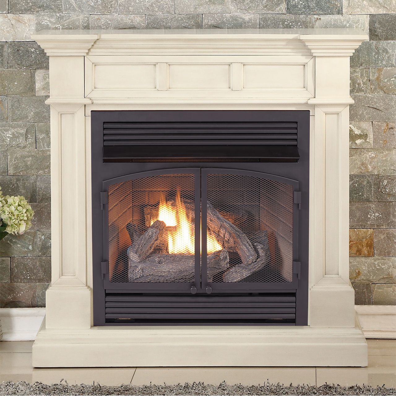 Btu Gas Fireplace Duluth Forge Dual Fuel Ventless Fireplace 32 000 Btu Remote Control Antique White Finish