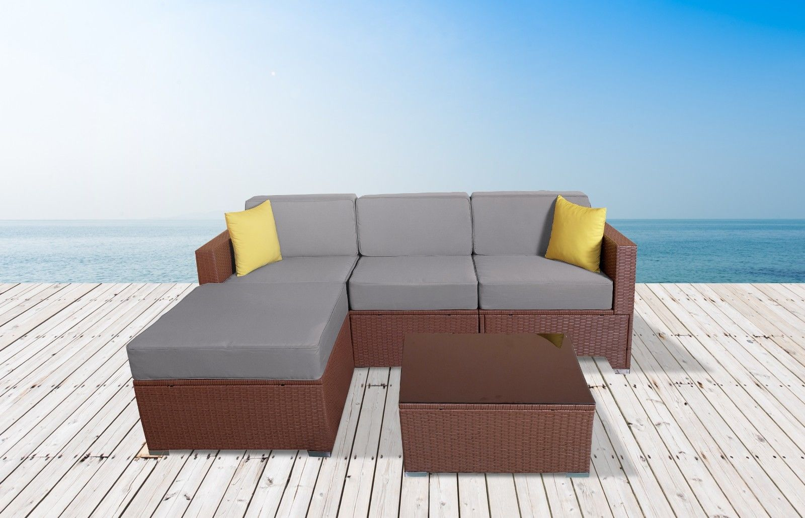 Owen 5 Piece Rattan Sofa Set With Cushions Mcombo 5pc Outdoor Rattan Sofa Wicker Chair Patio Furniture With Table Sectional Set Grey