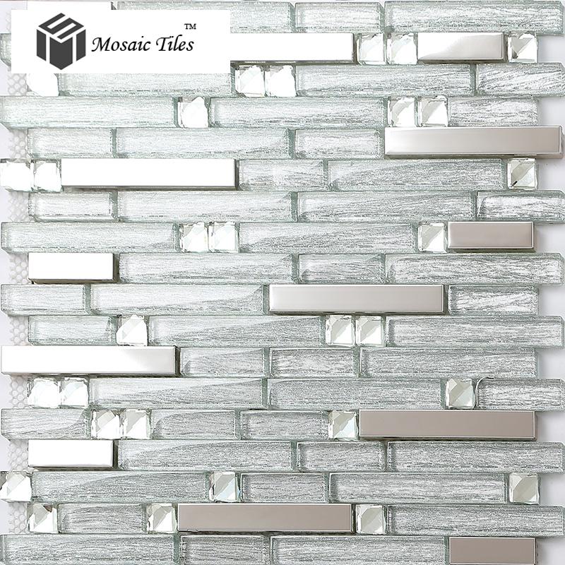 tst glass metal tiles silver strip stainless steel kitchen backsplash kitchen tile backsplash ideas black white glass tile