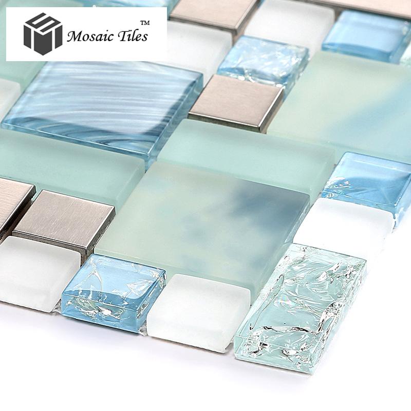 tst glass metal tile blue sky cloud white kitchen bath backsplash white kitchen cabinet glass metal backsplash tile backsplash