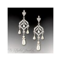 DAPHNE Pearl Bridal Chandelier Earrings - T's Studio Jewelry