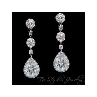 Teardrop Pear CZ Cubic Zirconia Crystal Bridal Chandelier ...
