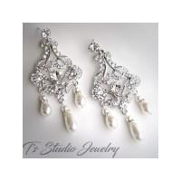 Long Romantic Pearl and Rhinestone Crystal Bridal ...
