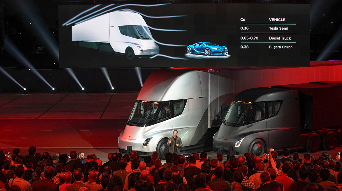 Musk Tesla The Tesla Elon Musk Unveil Electric Semi Truck Transport Topics