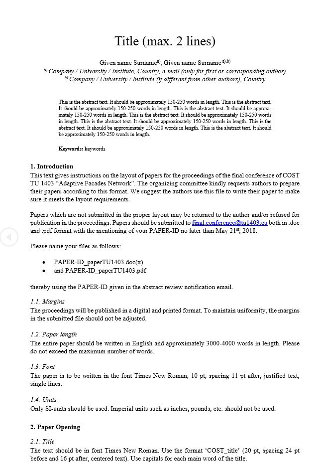 Final conference \u2013 Paper template and submission procedures \u2013 COST - white paper template