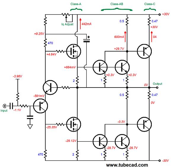 amplifier classes circuit class ab amplifier