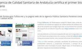 Tufisio.net: Primer blog de salud acreditado por la Agencia de Calidad Sanitaria de Andalucía
