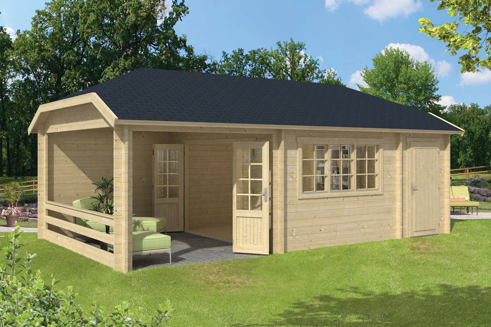 Gartenhaus Holz Dach Viveka Log Cabin 7.5x4.2m With A Side Gazebo