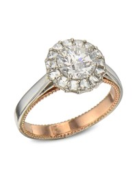 Platinum and Rose Gold Diamond Halo Engagement Ring ...