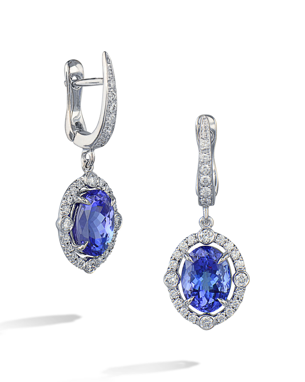Tanzanite and Diamond Halo Drop Earrings
