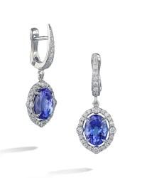 Tanzanite and Diamond Halo Drop Earrings - Turgeon Raine