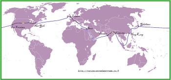 Карта путешествия за 80 дней вокруг света