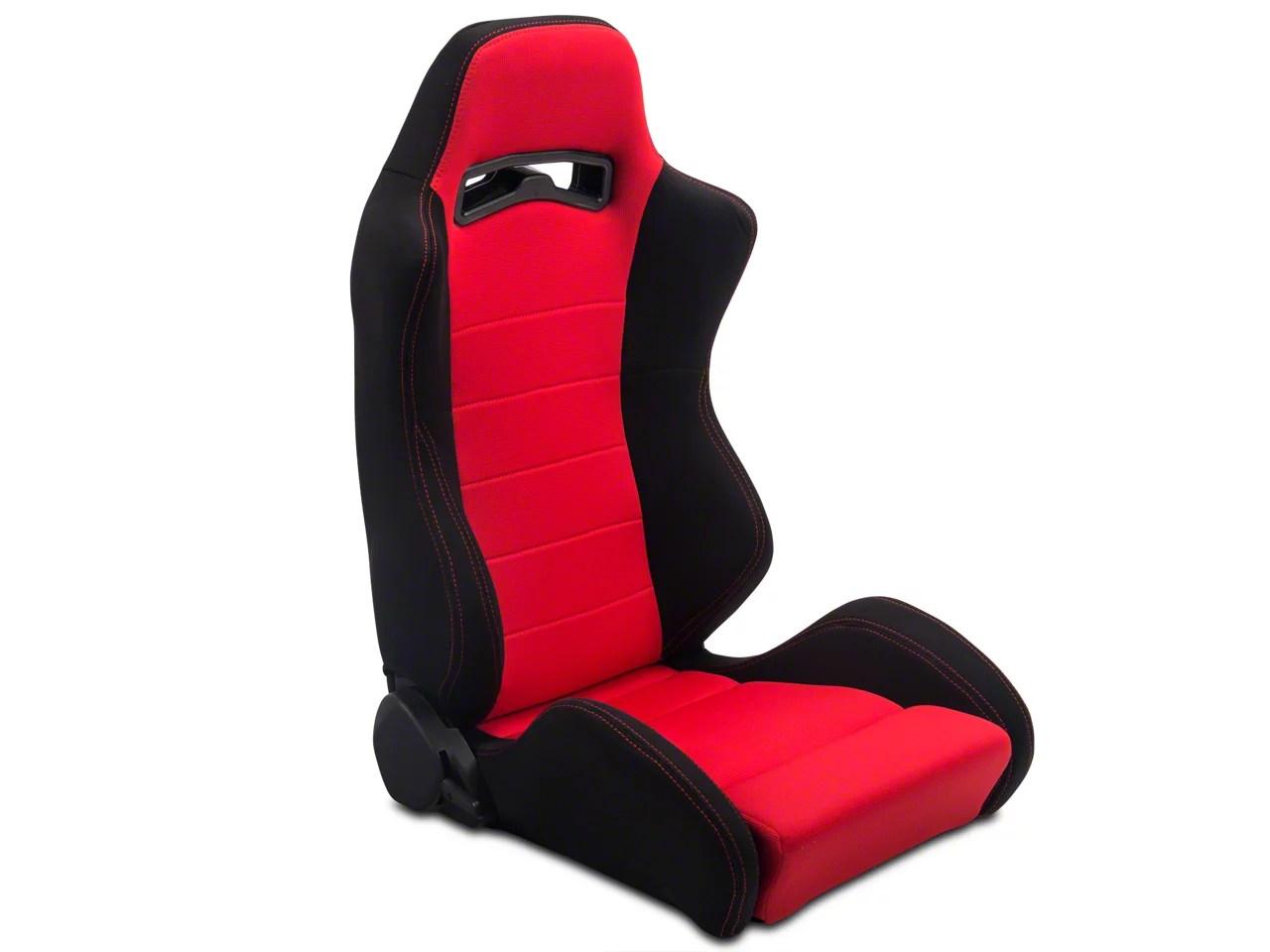 Speedform Mustang Black Red Racing Seats Pair 384433