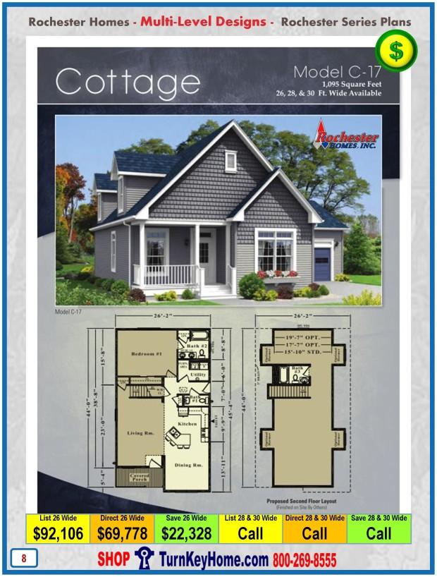 cottage rochester homes cape multi level modular home plan price multi level house floor plans square feet house plans