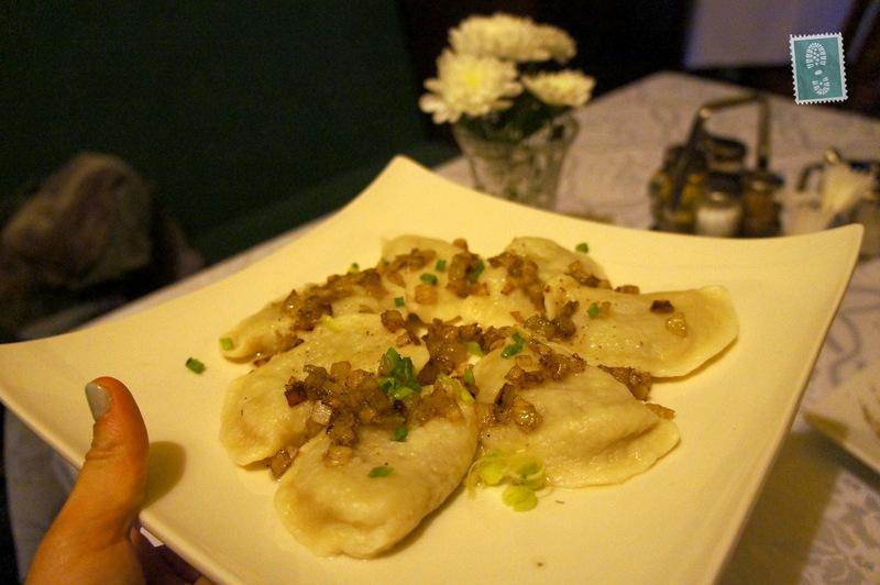 Pierogi with fried onion