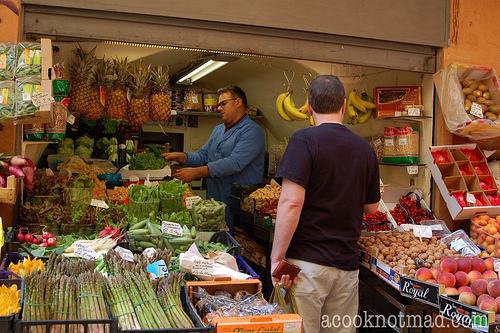 Market stall in Bologna, Italy