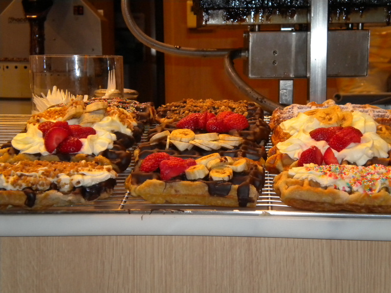 Sinful street waffles for sale in Brussels, Belgium