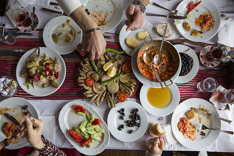 on Turkey's Black Sea coast, cornflour-fried fresh anchovies and other dishes