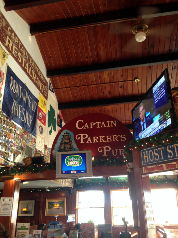 Inside the bar at Captain Parker's Pub